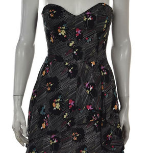 Floral Layered Strapless Mini Dress